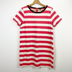 J. Crew Rugby Stripe T-shirt Dress Red White Large